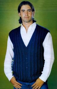 Синий мужской жилет