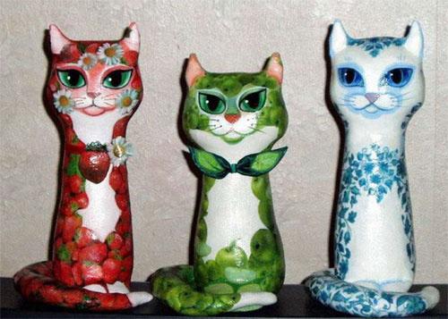 Поделка кошка из разных материалов 26