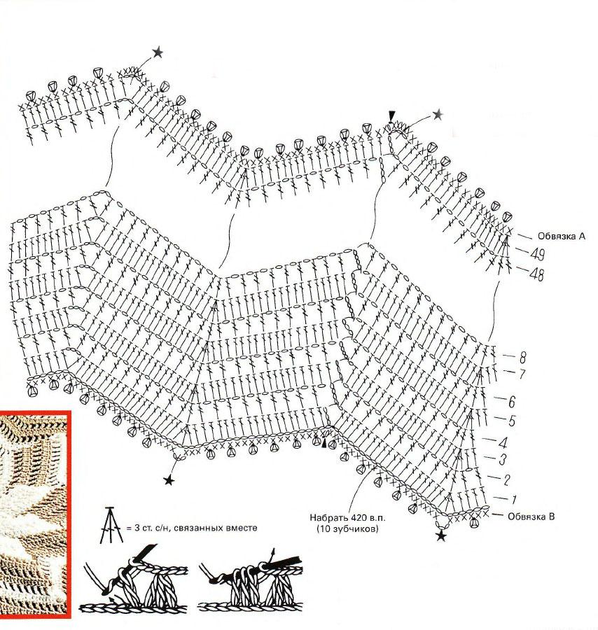 Как связать палантин из травки спицами схема