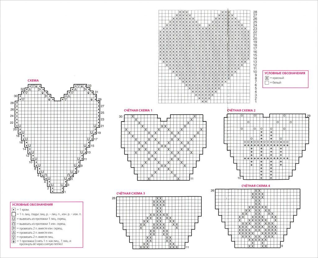 Вязаные сердечки к Дню св.Валентина.  Для увеличения изображения со схемами щелкните по нему мышью.