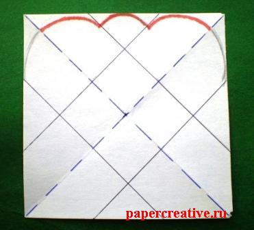 разметка бумажного квадрата-выкройки