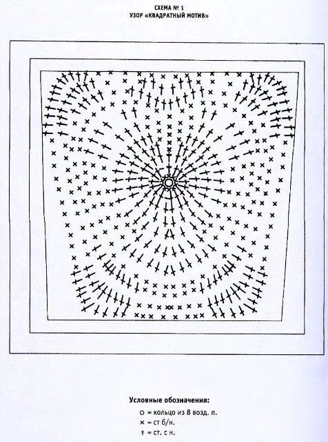плед вязаный из сердечков схема вязания