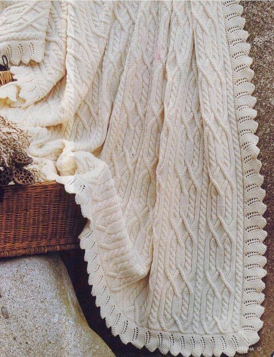 Покрывало вязаное спицами