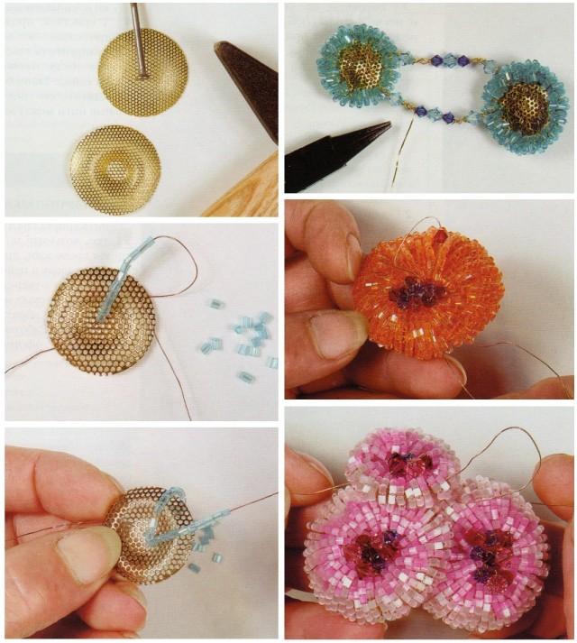 Розочки на сетке из бисера схема плетения