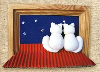 Коты на крыше. Картинка из соленого теста