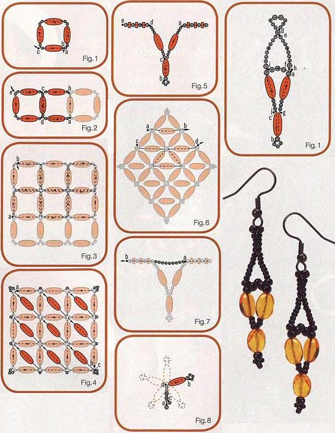 схема плетения колье и серег из бисера. схема оранжевого колье и серег из бисера.