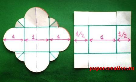 выкройка верха и низа коробки с относительными размерами