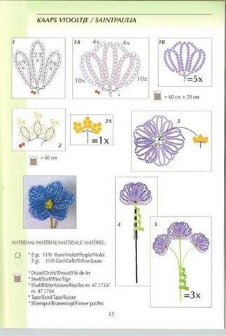 Цветы в каждый дом.  Вы любите фиалки.  Схема плетения фиалок.  Бисер, проволока, нити для обмотки.