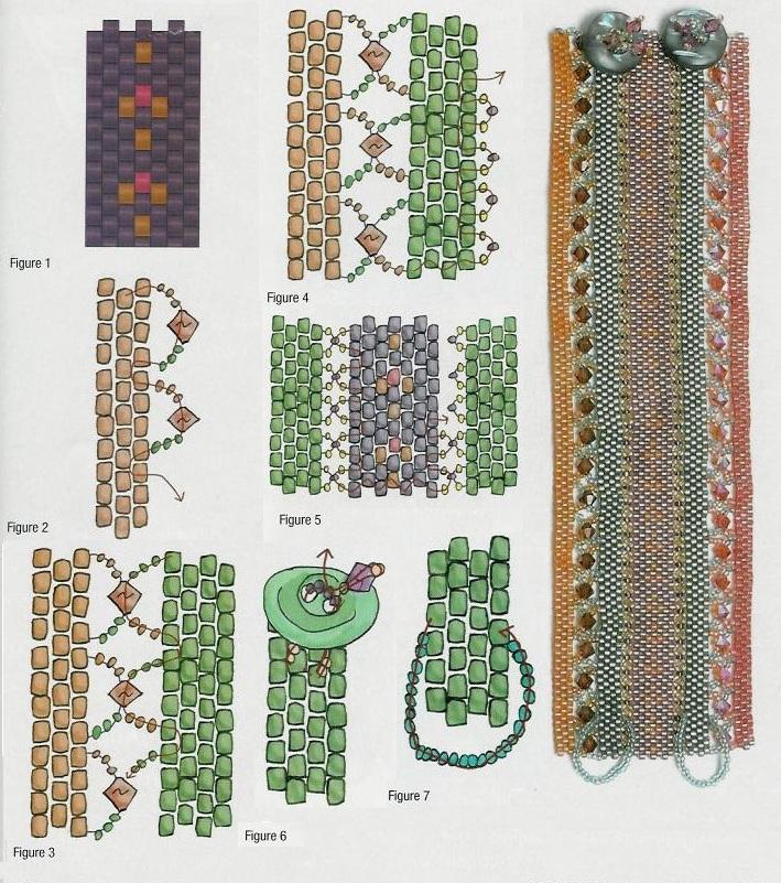 схема плетения полосатого браслета. как сплести широкий браслет из бисера.