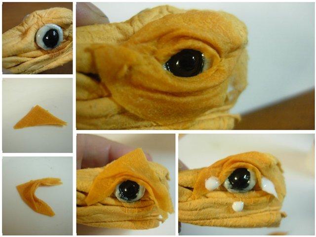 Дракон из туалетной бумаги его глаза