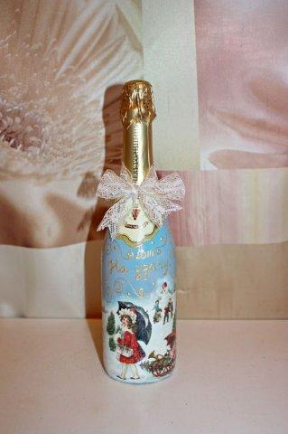 Бутылка шампанкого декупаж конечный результат