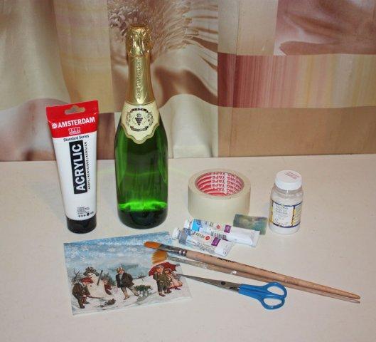 Бутылка шампанкого декупаж материалы