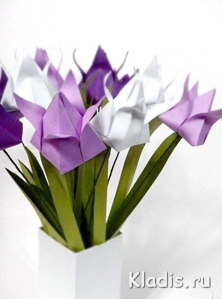 Цветы из бумаги оригами тюльпаны