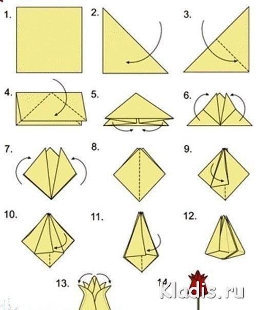 Оригами из бумаги из цветной бумаги