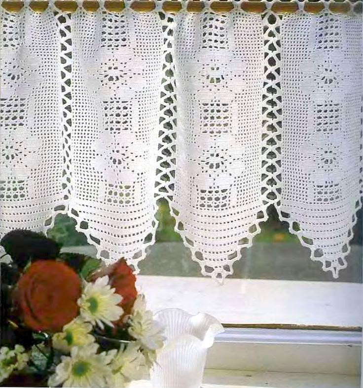 Вязание филейное занавески