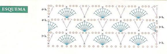 Схема шарфа с кистями