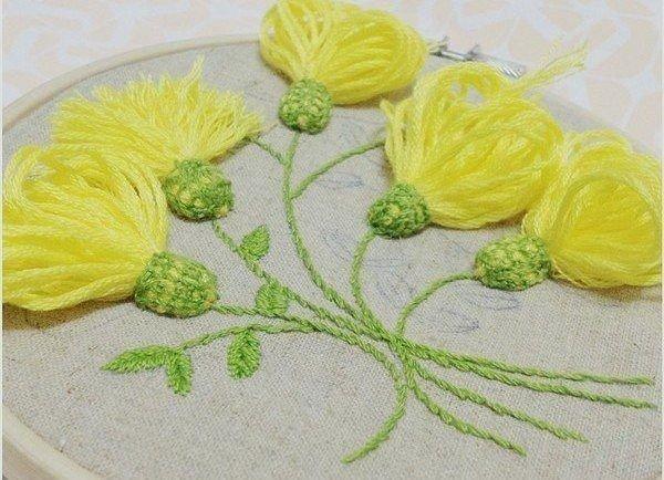 Вышивка желтые одуванчики