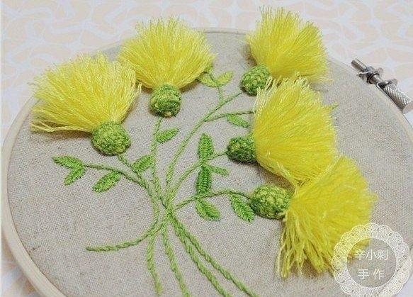 Объемная вышивка Одуванчики