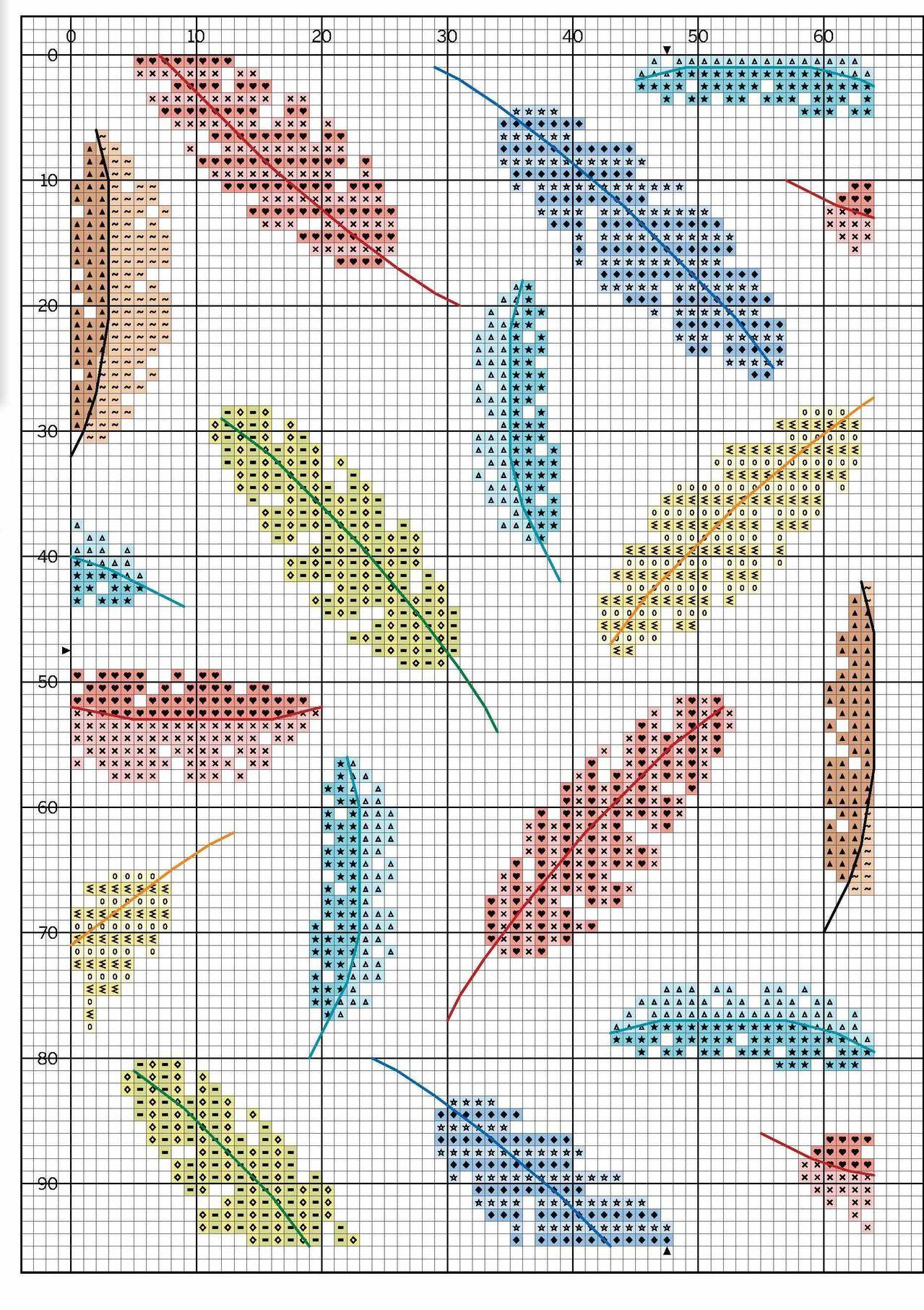 Схема вышивки крестом перышки
