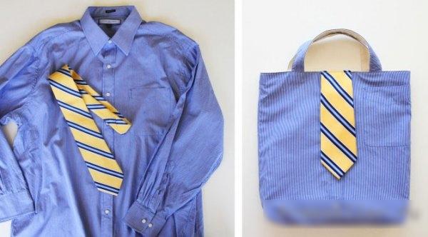 Сумка из рубашки с галстуком