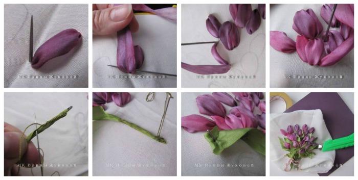 Вышивка тюльпанов лентами