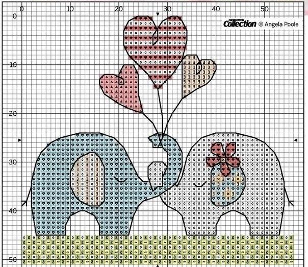 Схема вышивки слоники