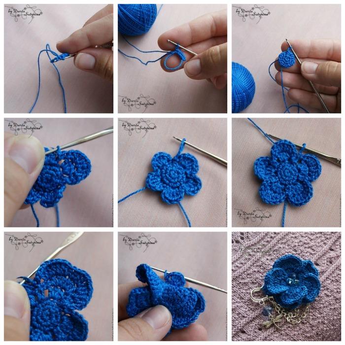 как связать цветок крючком