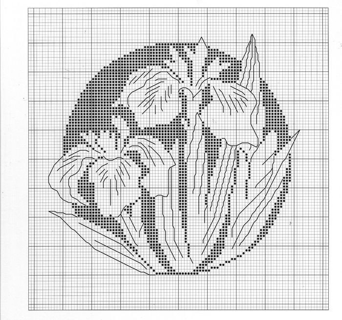 схема цветка монохром