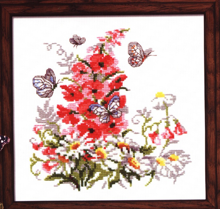 вышивка букет цветов