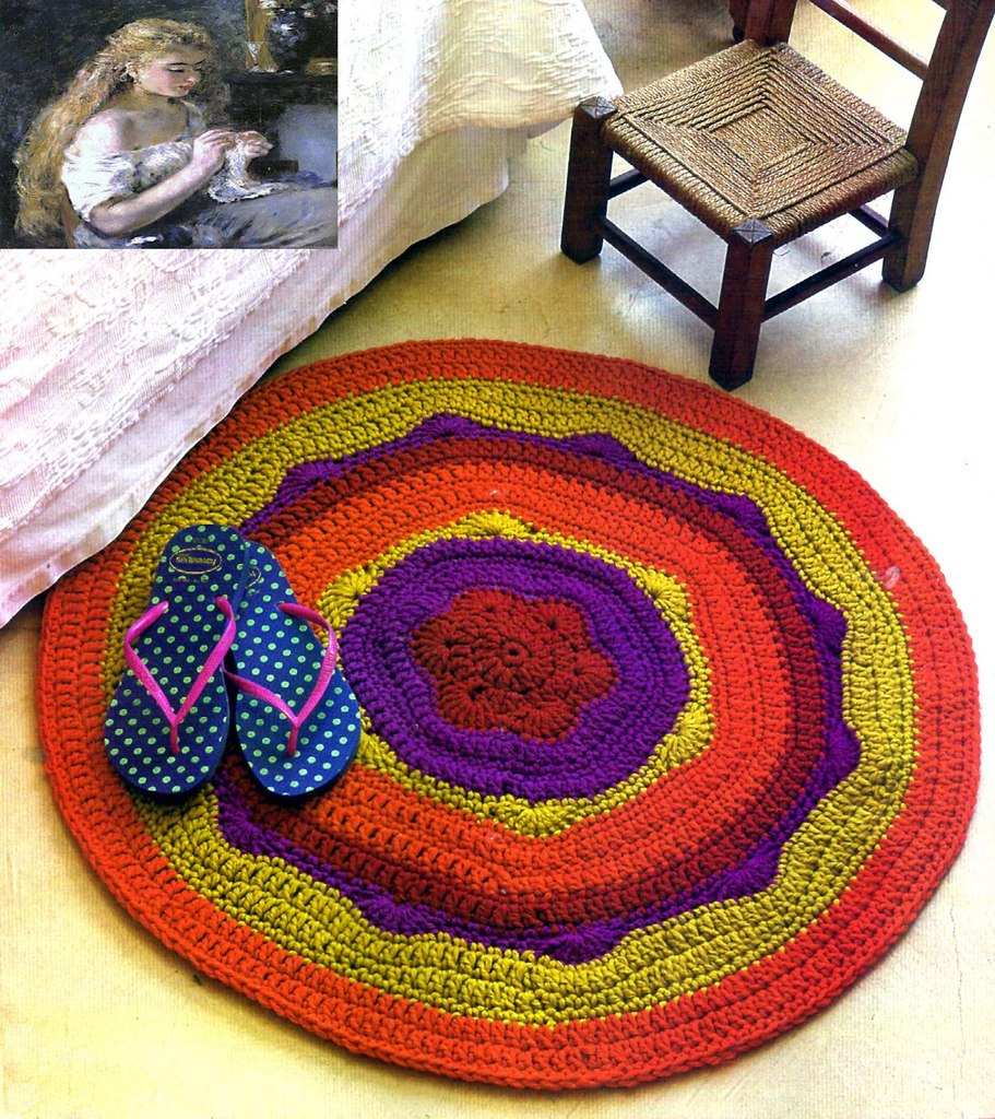 Вязание спицами круглых ковриков лепестками 76
