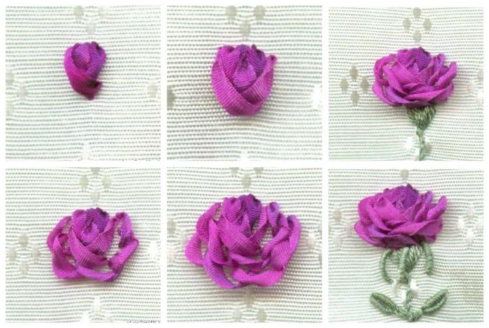 вышитая лентой роза