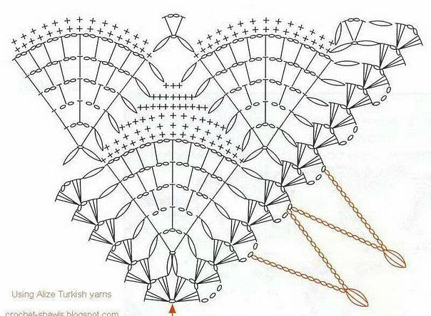 схема шаль крючком