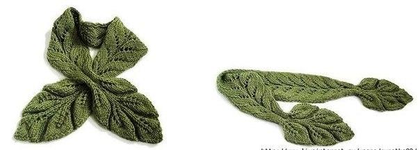 шарф в виде листика