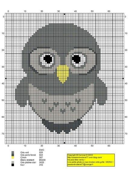 схема крестиком сова