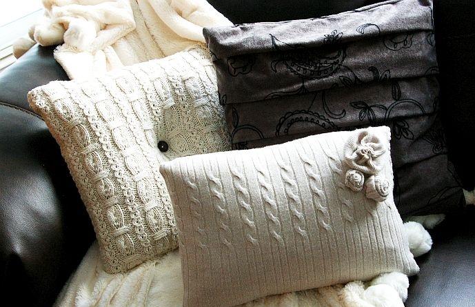 подушки из свитера