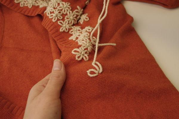 вышивка кофты цветами