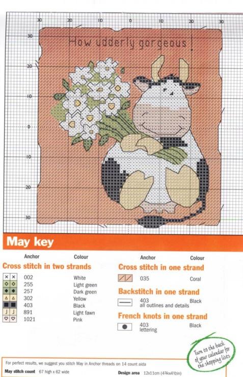 вышивка крестиком коровка
