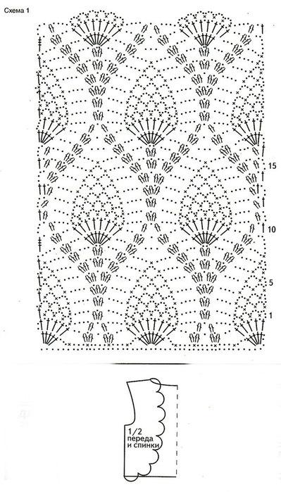 схема жилета крючком