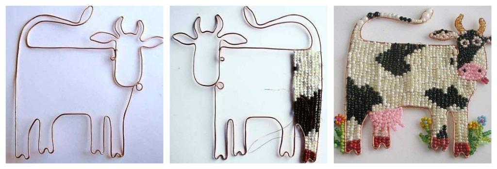 корова из бисера