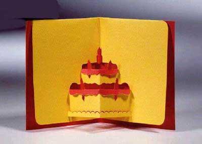 открытка в виде торта
