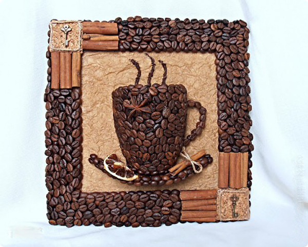 Панно из зерен кофе мастер класс