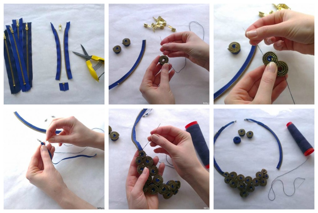 как сделать ожерелье из молний