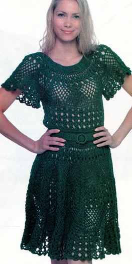 Изумрудное платье крючком