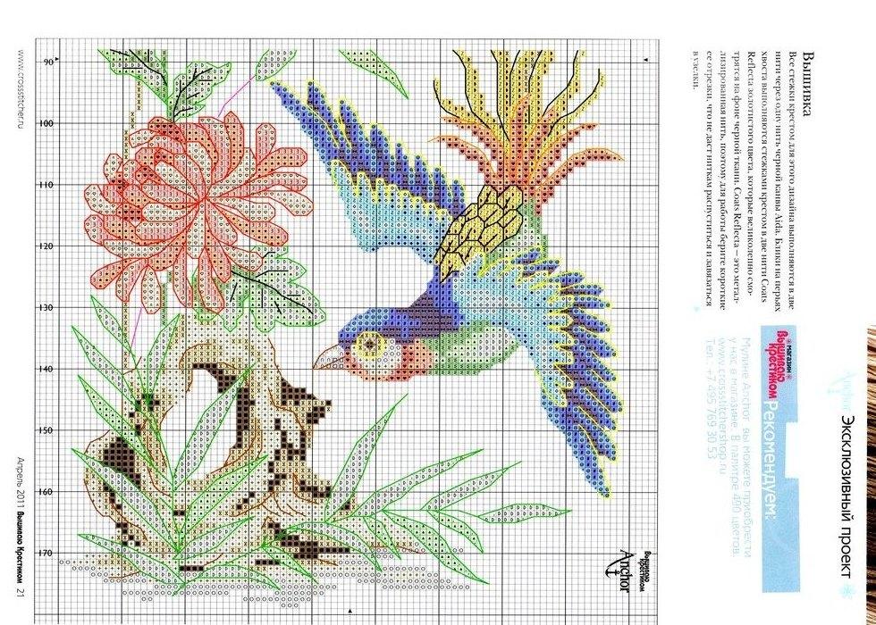 Вышивка крестом птицы на цветах 73