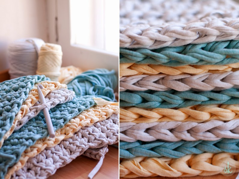 Вязание из толстой пряжи ковриков 194