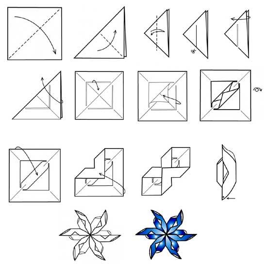 снежинка из оригами