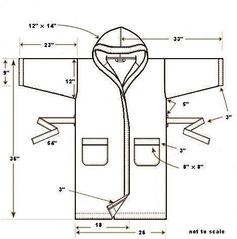 Выкройка махрового халата с запахом